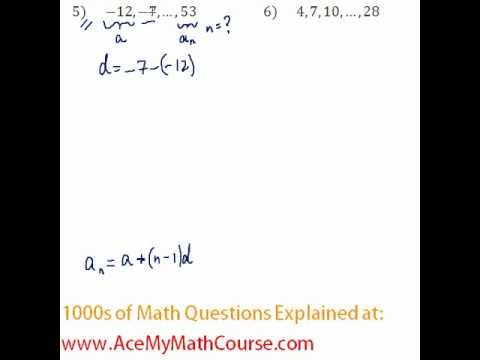 Arithmetic Sequences - Finding the Number of Terms Question #5