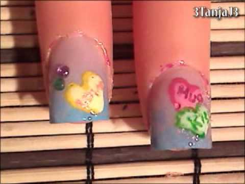 Sweets: *Candy Hearts Nail Art Design* - Short Nails