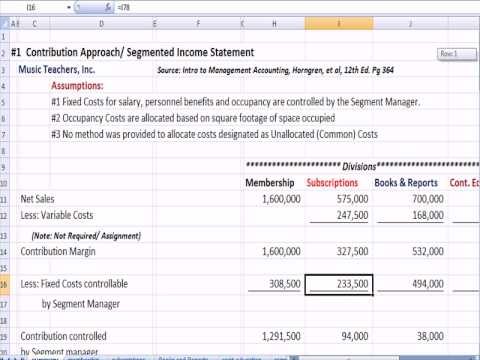 Management Accounting 6A: Segmented Income Statement