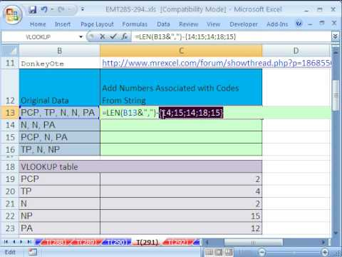 Excel Magic Trick 291: Add Nums Associated w Codes From String
