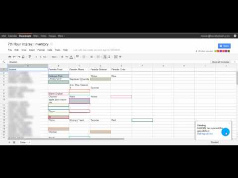 Google Docs Spreadsheet example