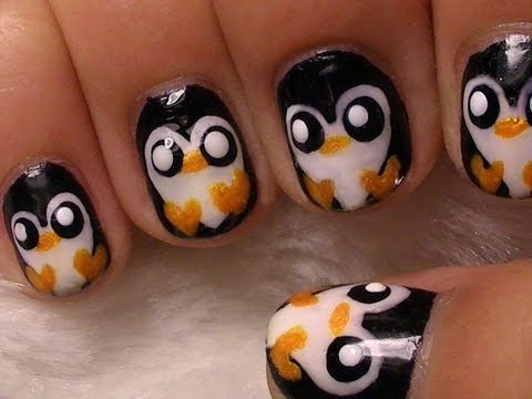 Cute Penguin Nail Art