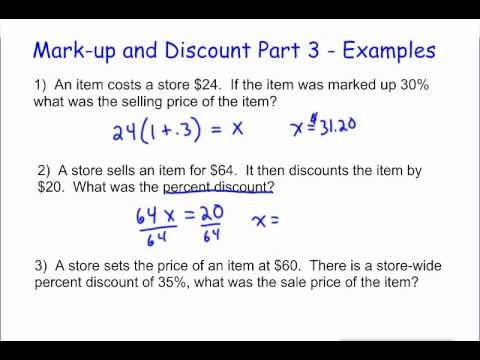 Markup and Discount Part 3 - Examples