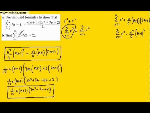 (g) Summing finite series (FP1 Edexcel) example 7 -another exam question (further maths)