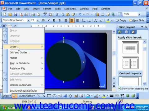 PowerPoint 2003 Tutorial The Draw Button Microsoft Training Lesson 19.11