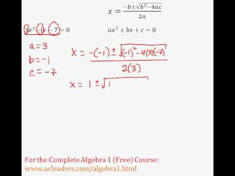 (Algebra 1) Quadratics - Quadratic Formula Pt. 7