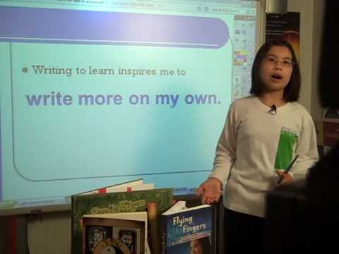 "Adora showcasing her series ""write to learn"""