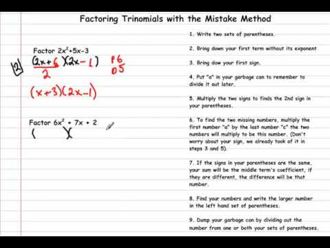 Trinomial Factoring  The Mistake Method