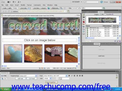 Dreamweaver CS5 Tutorial Other Common Panels Adobe Training Lesson 1.9