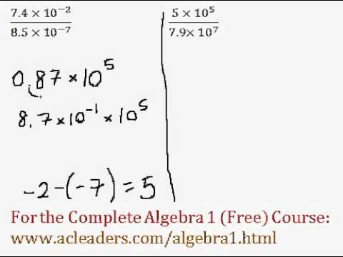 (Algebra 1) Scientific Notation Operations - Questions #5-6