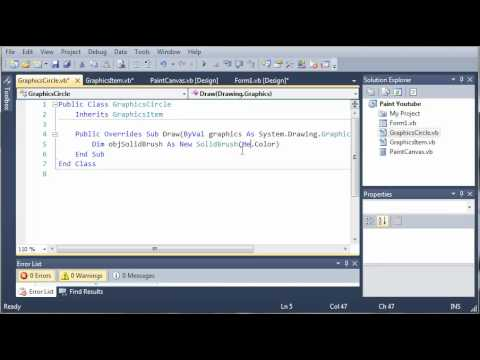 Visual Basic Tutorial - 170 - Paint Part 3   Building GraphicsCircle