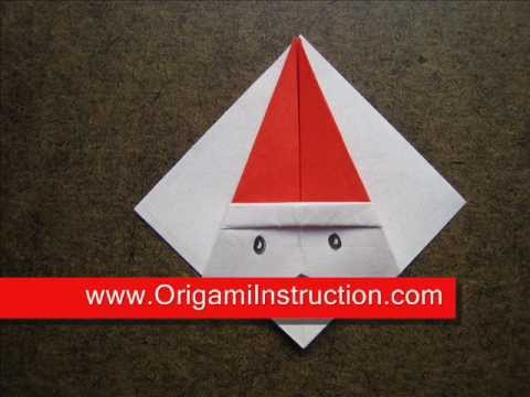 How to Fold Origami Santa Coaster   OrigamiInstruction com