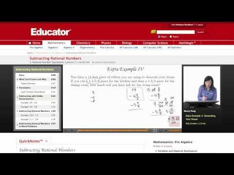 Pre Algebra: Subtracting Rational Numbers