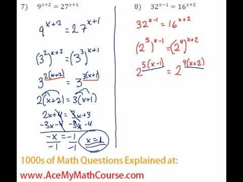 Exponents - Solving Exponential Equations #7-8