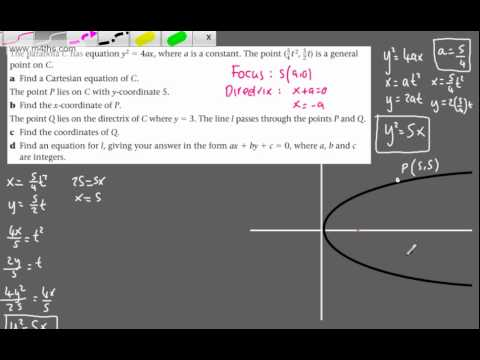 (10) FP1 - The Parabola (Line intersecting directrix) The parabola Further Pure 1 (Edexcel)