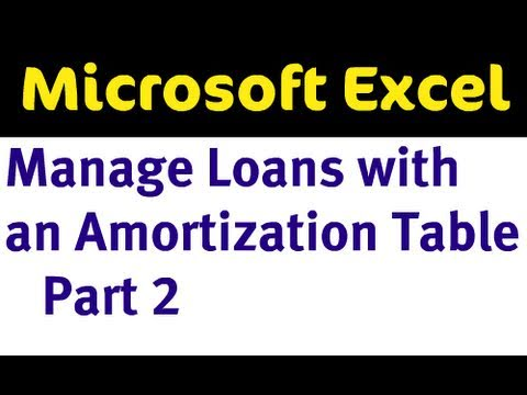 Manage Loans with an Amortization Table in Excel - Part 2