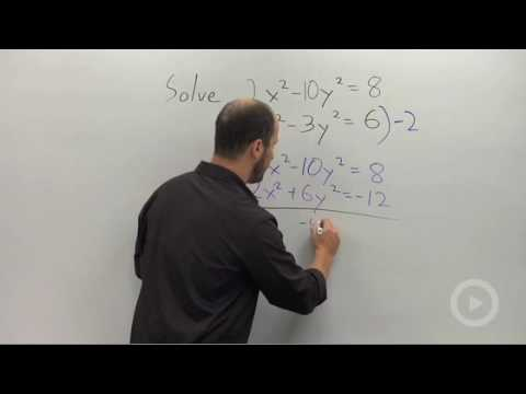 Algebra 2 - Solving a System of Nonlinear Equations by Elimination
