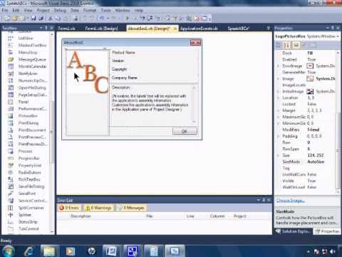 Visual Basic 2010 Express Tutorial 24 - Adding An AboutBox - SpeakABCs 8/11