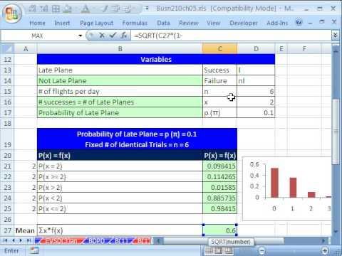 Excel Statistics 63: BINOMDIST & Mean & Standard Deviation For Binomial Probability Distribution