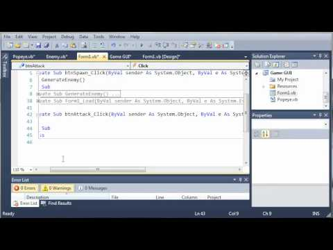Visual Basic Tutorial - 151 - Game Part 7   Creating Popeye