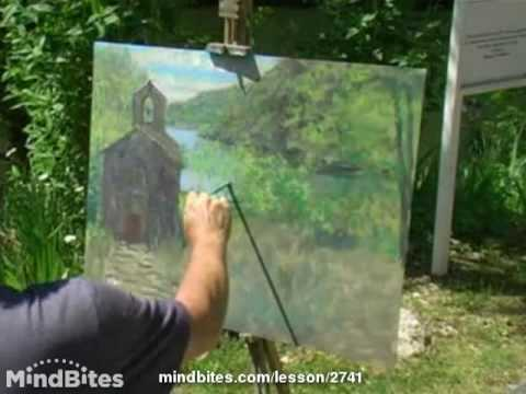 Painting a pretty medieval chapel, France.