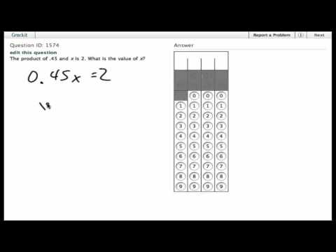 Grockit SAT Math - Student Produced Response: Question 1574