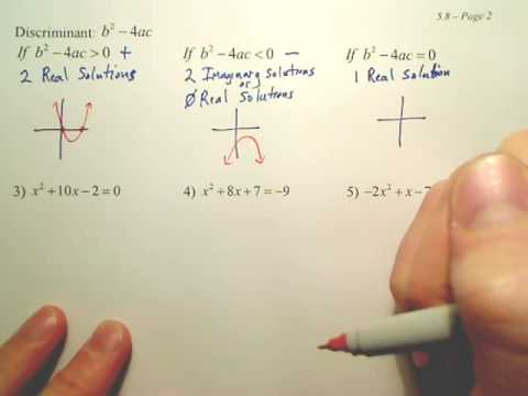 5.8b The Quadratic Formula - Algebra 2