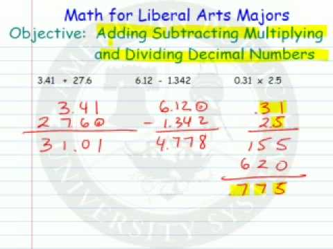 Adding Subtracting Multiplying Dividing Decimal