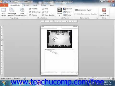 PowerPoint 2010 Tutorial Using the Notes Master Microsoft Training Lesson 14.2