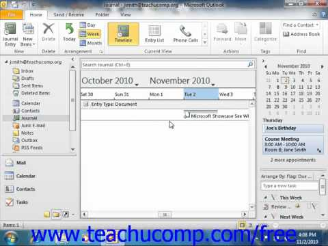 Outlook 2010 Tutorial Recording Journal Items Manually Microsoft Training Lesson 9.4