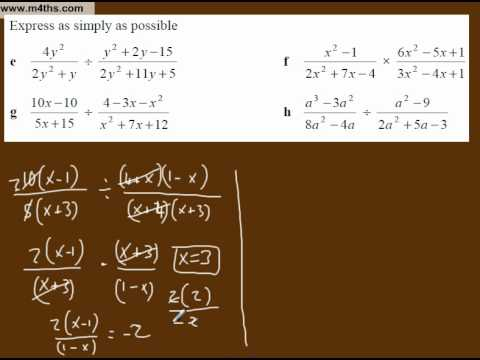 (g) Simplifying Algebraic Fractions Core 3 playlist (multiplication and division 3)