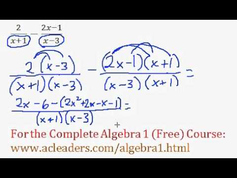 (Algebra 1) Rational Expressions - Addition/Subtraction Question #9