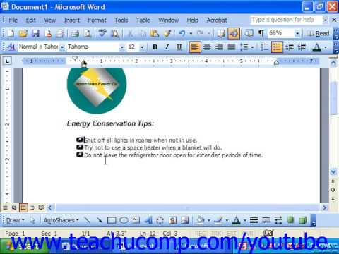 Word 2003 Tutorial Modifying Bullets and Numbering Microsoft Training Lesson 15.2