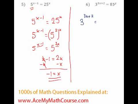 Exponents - Solving Exponential Equations #5-6