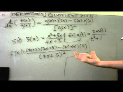 Derivatives Using the Quotient Rule