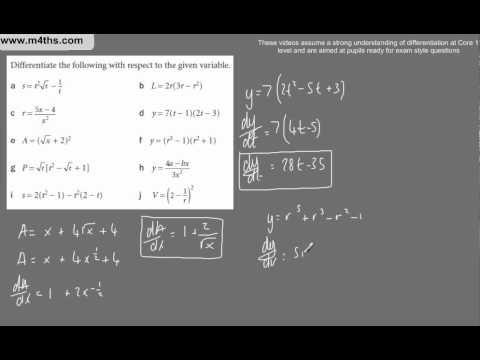 (e) Harder Core 1 Differentiation (a Range of examples WITHOUT product, chain or quotient rule)