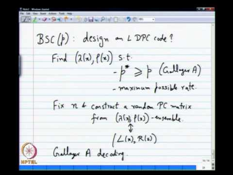 Mod-01 Lec-27 Optimized Irregular LDPC Codes, Soft Message Passing Decoders