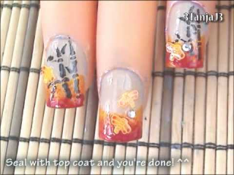 Asian Themed: *Bamboo & Dragonflies* Nail Art Design Tutorial