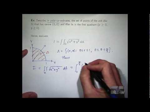 Double integral, polar co-ordinates example