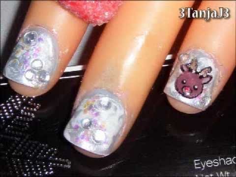 Christmas #5: *Cute Reindeer / Rudolph* Short Nail Art Design