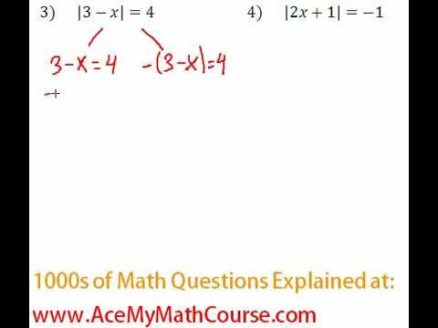 Absolute Value Equations - Question #3