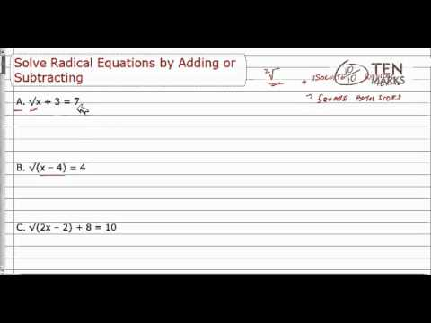 Solve Radical Equation by Adding or Subtracting