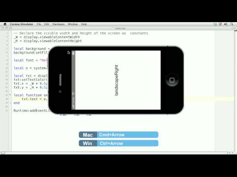 Corona SDK Tutorial | Handling Device Orientation Events