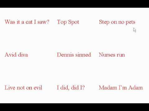 Palindromes - ESL British English Pronunciation