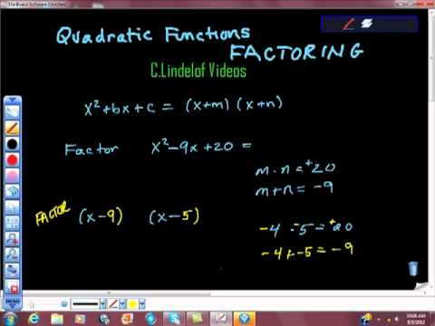 Quadratic Functions and Factoring