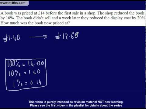 (22) C to D Grade GCSE Questions Playlist Non calculator percentage