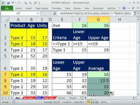 Excel Magic Trick 867 AVERAGEIFS Function w/ Not and Between Criteria
