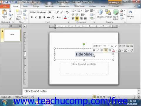 PowerPoint 2010 Tutorial The Mini Toolbar Microsoft Training Lesson 1.12