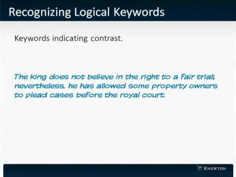 GMAT Prep - Verbal - Reading Comprehension - Recognizing Logical Keywords by Knewton