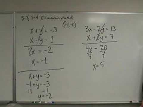 Algebra - Solving Systems of Equations - Elimination Method